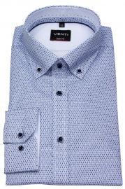 Hemd - Body Fit Stretch - Button Down - Print - blau / weiß - ohne OVP