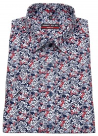 Kurzarmhemd - Body Fit - Muster - rot / blau / weiß