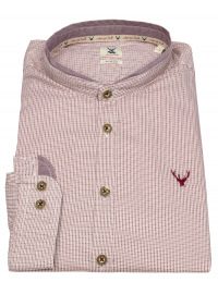 Trachtenhemd - Slim Fit - Stehkragen - rot / weiß