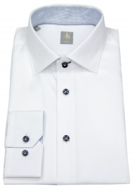 Hemd - Slim Fit - Kontrastknöpfe - weiß - langer Arm 69cm