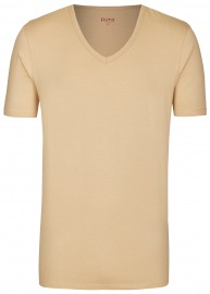 T-Shirt - Slim Fit - V-Ausschnitt - caramel