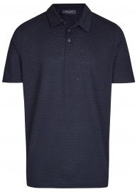 MAERZ Muenchen Poloshirt - Modern Fit - Baumwolle / Leinen - dunkelblau