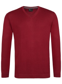 Pullover - Slim - V-Ausschnitt - Merino - pflaume