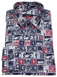Hemd - Modern Fit - Print - blau / rot / weiß