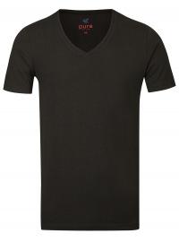 T-Shirt - Slim Fit - V-Ausschnitt - schwarz