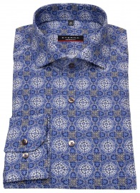 Hemd - Modern Fit - Muster - blau / beige / weiß