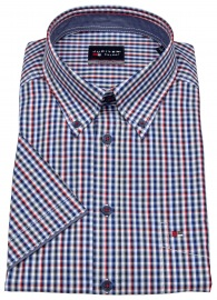 Kurzarmhemd - Regular Fit - Button Down - kariert - rot