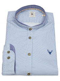 Trachtenhemd - Slim Fit - Stehkragen - hellblau / weiß