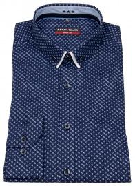 Hemd - Body Fit - Button Down - Doppelkragen - blau / weiß