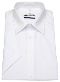 Kurzarm Hemd - Comfort Fit - Kentkragen - weiß