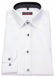 Hemd - Body Fit - Patch - Kontrastknöpfe - weiß