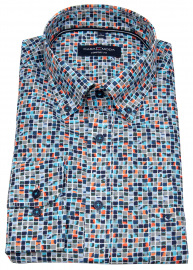 Hemd - Casual Fit - Button Down - Print - extra langer 72cm Arm