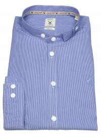 Pure Trachtenhemd - Slim Fit - Stehkragen - Streifen - blau / weiß