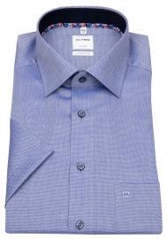 Kurzarmhemd - Comfort Fit - Struktur - Kontrastknöpfe - blau