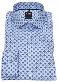 Hemd - Level Five Body Fit - Print - blau / hellblau