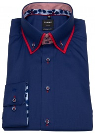 Hemd - Modern Fit - unterleger Button Down - dunkelblau
