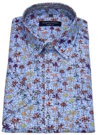 Kurzarmhemd - Casual Fit - Print - mehrfarbig