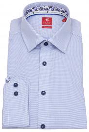 Pure Hemd - Slim Fit - Kontrastknöpfe - blau / weiß