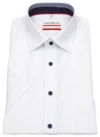 Kurzarmhemd - Modern Fit - Patch - Kontrastknöpfe - weiß