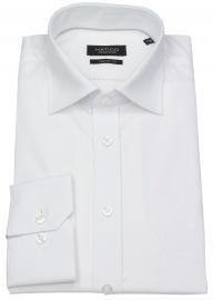Hemd - Regular Fit - Chambray - weiß