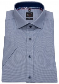 Kurzarmhemd - Level 5 - Kontrastknöpfe - kariert blau / weiß
