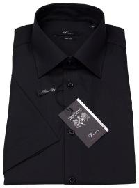 Kurzarmhemd - Slim Fit - schwarz