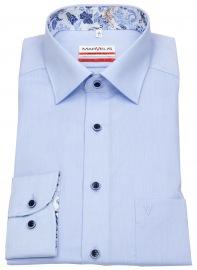 Hemd - Modern Fit - Patch - Kontrastknöpfe - hellblau