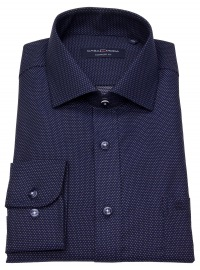 Hemd - Comfort Fit - Kentkragen - Print - blau / weiß