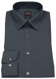 Hemd - Level Five Body Fit - Chambray - anthrazit - 69cm Arm