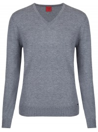 Pullover - Level Five Body Fit - Merinowolle - grau