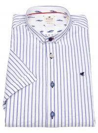 Kurzarmhemd - Slim Fit - Stehkragen - Streifen - weiß / blau