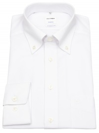 Hemd - Tendenz Modern Fit - Button Down Kragen - weiß