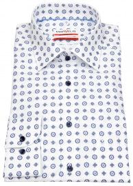 Marvelis Hemd - Modern Fit - Print - weiß / dunkelblau