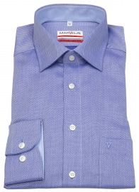 Hemd - Modern Fit - Patch - Struktur - blau