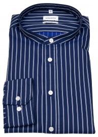 Hemd - Shaped Fit - Stehkragen - dunkelblau / weiß