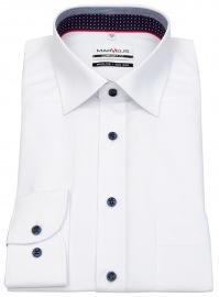 Hemd - Comfort Fit - Patch - Kontrastknöpfe - weiß
