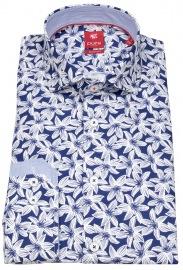 Hemd - Slim Fit - Print - dunkelblau / weiß