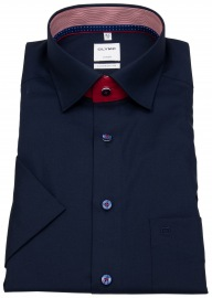 Kurzarmhemd - Comfort Fit - Patch - Under Button Down - blau