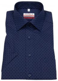 Kurzarmhemd - Modern Fit - feine Punkte - blau / weiß / rot