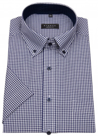 Kurzarmhemd - Comfort Fit - Button Down - kariert - blau