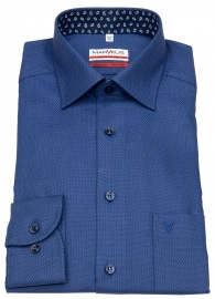 Hemd - Modern Fit - Patch - Struktur - blau / dunkelblau