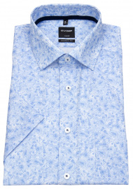 Kurzarmhemd - Luxor Modern Fit - Muster - hellblau / weiß