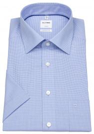 OLYMP Kurzarmhemd - Luxor Comfort Fit - Check - hellblau / weiß