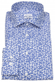 Hemd - Shaped Fit - Print - weiß / blau