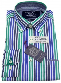 Hemd - Button Down - grün / blau gestreift
