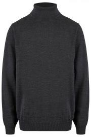 Pullover - Modern Fit - Merinowolle - Rollkragen - anthrazit