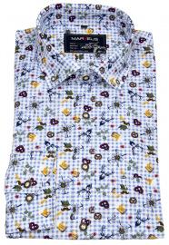 Trachtenhemd - Casual Fit - Print - blau / weiß kariert