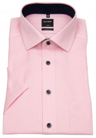 Kurzarmhemd - Modern Fit - Faux Uni - rosé / weiß