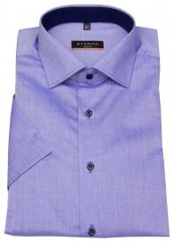 Kurzarmhemd - Slim Fit - Stretch - Kontrastknöpfe - blau