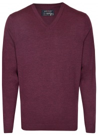 Pullover - Merinowolle - V-Ausschnitt - dunkelrot
